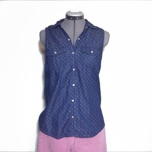 Mudd Snap Front Sleeveless Blouse Top S